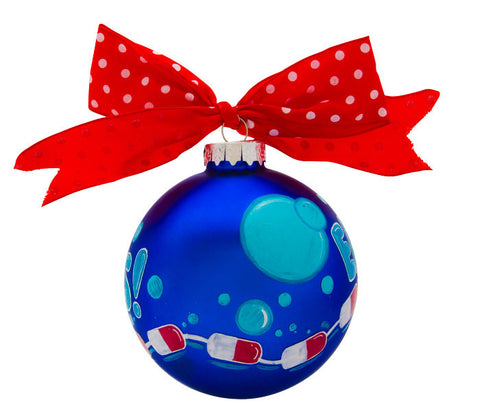 GB063 - Swimming Glass Ball Christmas Ornament