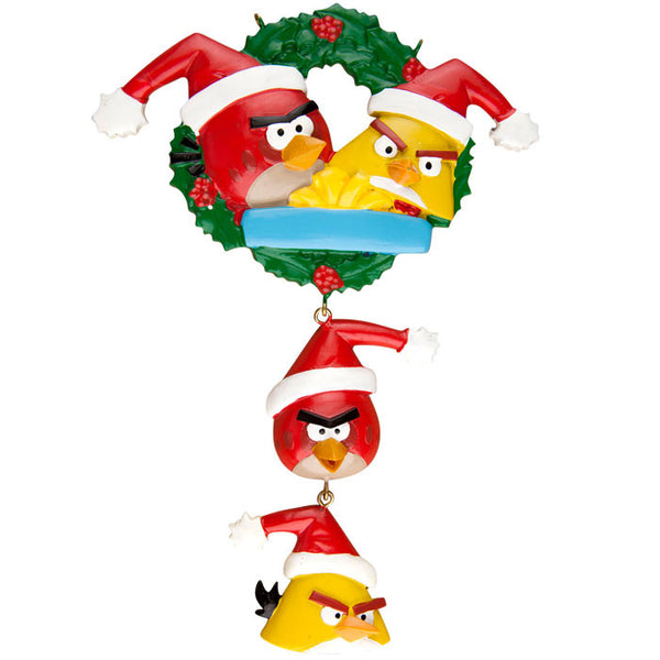 KA2124 - Angry Birds Family of 4 Personalized Christmas Ornament