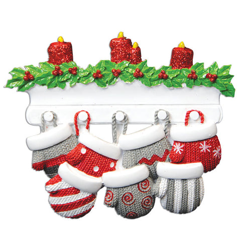 KA968-7 - Mitten Family of 7 Personalized Christmas Ornament