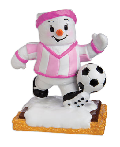 MM20005-G - Marshmallow Soccer Player (Girl) Personalized Christmas Ornament