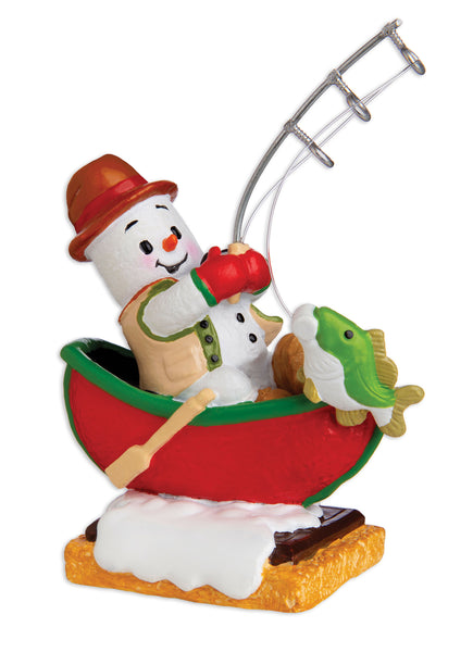 MM20014 - Marshmallow Fisherman Personalized Christmas Ornament