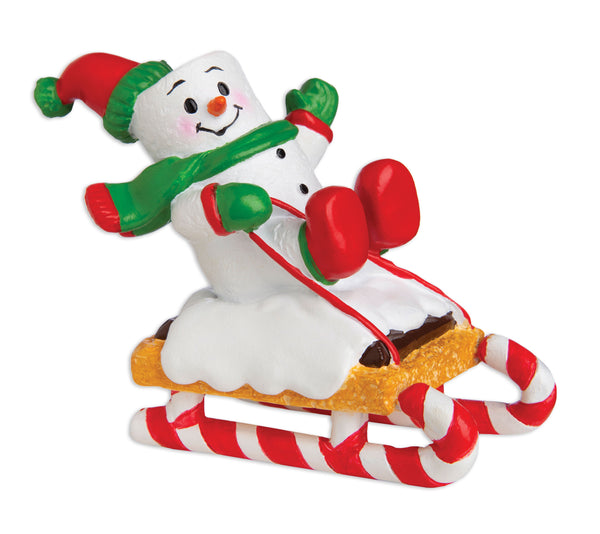 MM20018 - Marshmallow Child On Sled Personalized Christmas Ornament