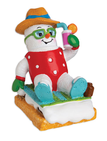 MM20020-F - Marshmallow Vacationer (Female) Personalized Christmas Ornament