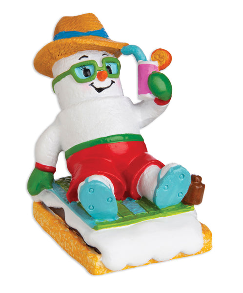 MM20020-M - Marshmallow Vacationer (Male) Personalized Christmas Ornament