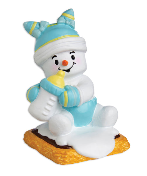 MM20024-B - Marshmallow Baby (Blue) Personalized Christmas Ornament
