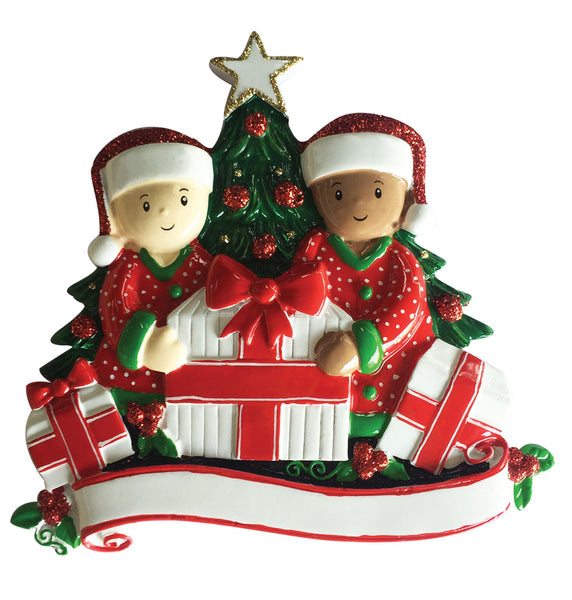 MR1523-2 - Interracial Family of 2 Opening Presents Personalized Christmas Ornament