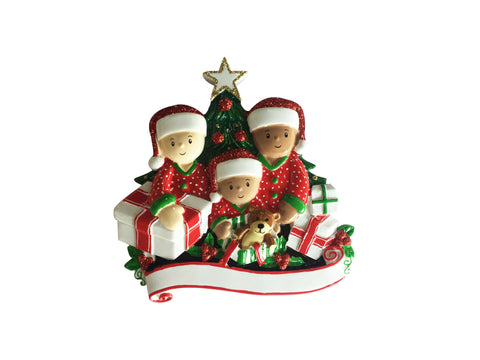MR1523-3 - Interracial Family of 3 Opening Presents Personalized Christmas Ornament