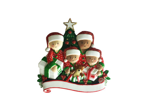 MR1523-4 - Interracial Family of 4 Opening Presents Personalized Christmas Ornament