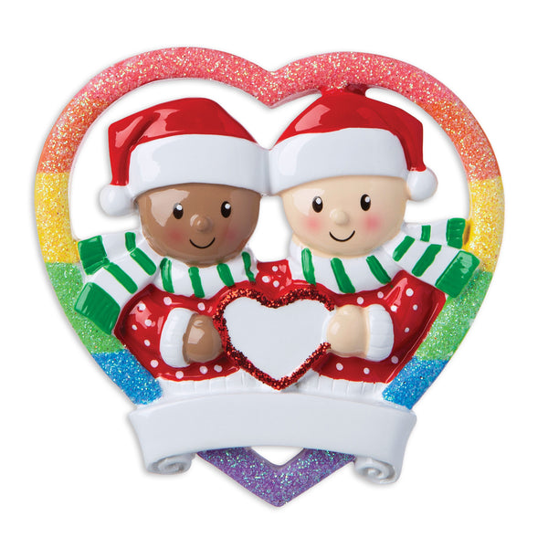 MR1666 - Interracial Gay Couple Personalized Christmas Ornament