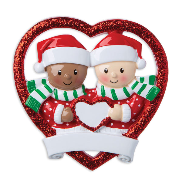 MR1882 - Interracial Couple Personalized Christmas Ornament