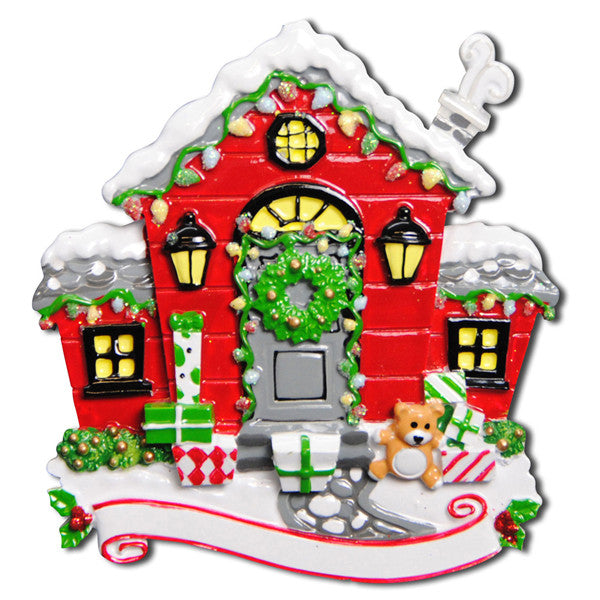 OR1002 - New Red Christmas House Personalized Christmas Ornament