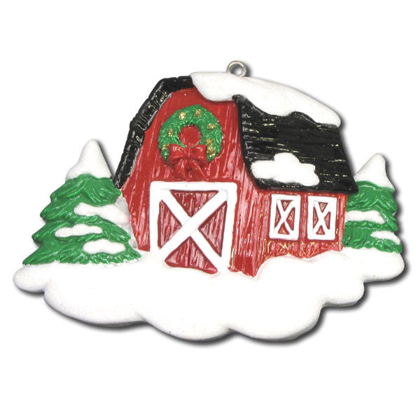 OR1006 - Barn Personalized Christmas Ornaments