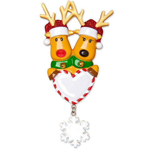 OR1018-2 - New Reindeer Couple Personalized Christmas Ornament