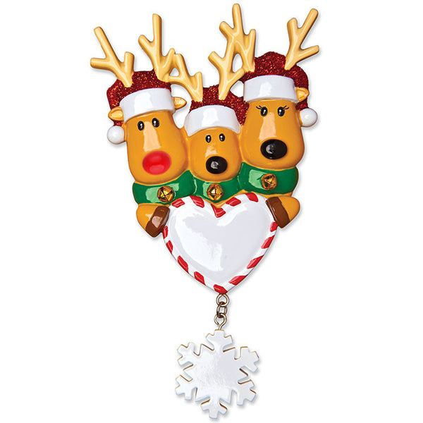 OR1018-3 - New Reindeer Family of 3 Personalized Christmas Ornament