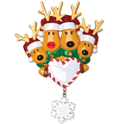 OR1018-4 - New Reindeer Family of 4 Personalized Christmas Ornament