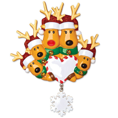OR1018-5 - New Reindeer Family of 5 Personalized Christmas Ornament