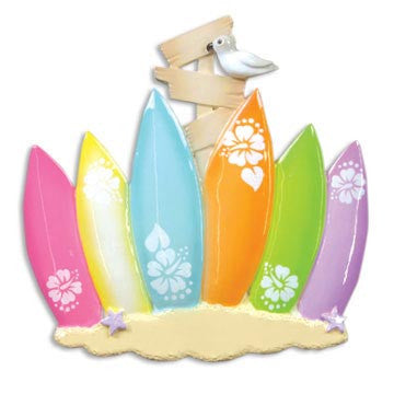 OR1092-6 - Surf Board Family of 6 Personalized Christmas Ornaments