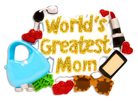 OR1121 - World's Greatest Mom Personalized Christmas Ornament