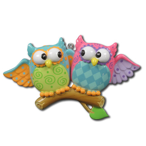 OR1122 - Owl Couple Personalized Christmas Ornaments