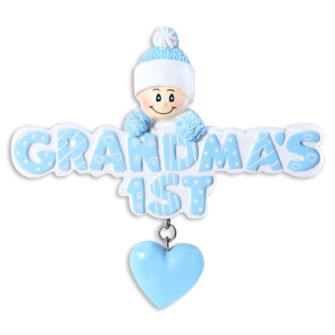 OR1181-B - Grandma's 1st In Light Blue Cap Personalized Christmas Ornament