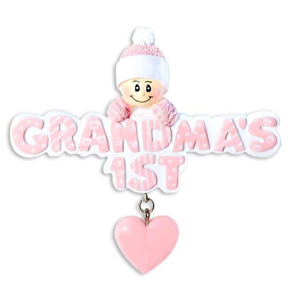 OR1181-P - Grandma's 1st In Pink Cap Personalized Christmas Ornament