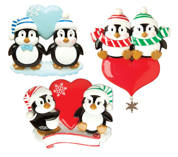 OR1183-A - Penguin Couple w/Heart Assortment (4 of each) Personalized Christmas Ornament