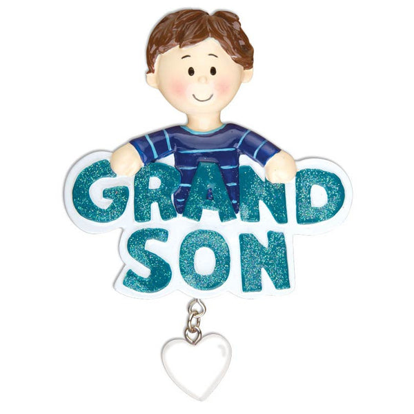 OR1187 - Grandson w/Dangling Heart Personalized Christmas Ornament
