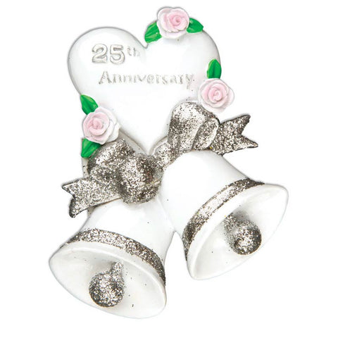 OR1189-S - 25th Wedding Anniversary Personalized Christmas Ornament