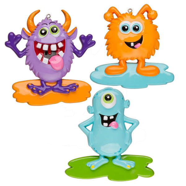 OR1208-A - Goofy Monsters (Assortment) Personalized Christmas Ornament