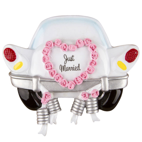 OR1212 - Just Married Car Personalized Christmas Ornament