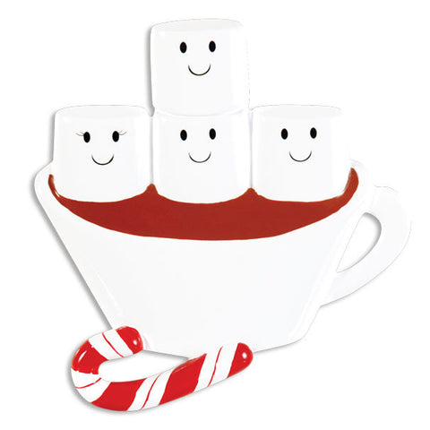 OR1213-4 - Hot Chocolate Family With 2 Kids Personalized Christmas Ornament