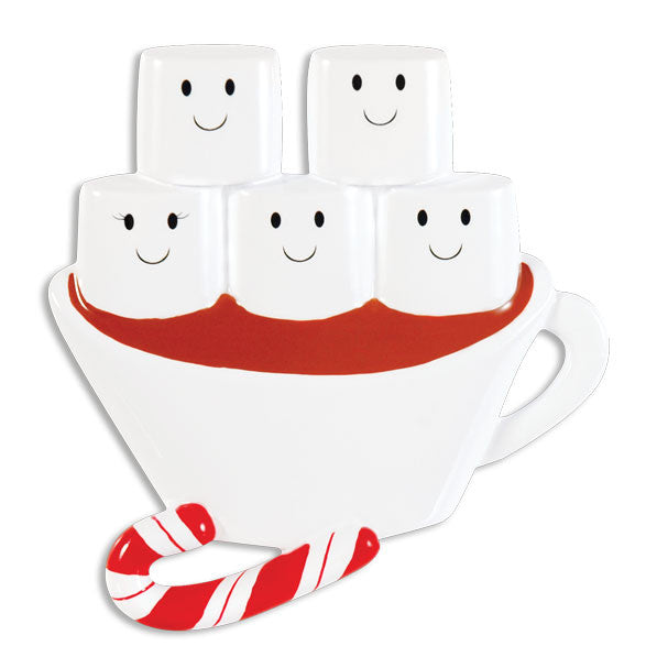 OR1213-5 - Hot Chocolate Family With 3 Kids Personalized Christmas Ornament