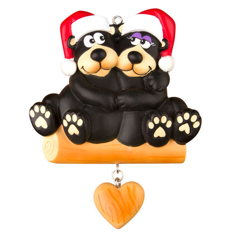 OR1215-2 - Black Bear Family - Couple Personalized Christmas Ornament