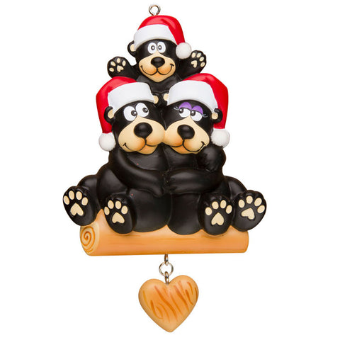 OR1215-3 - Black Bear Family of 3 Personalized Christmas Ornament