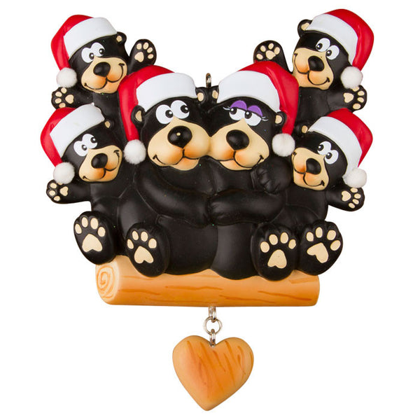 OR1215-6 - Black Bear Family of 6 Personalized Christmas Ornament
