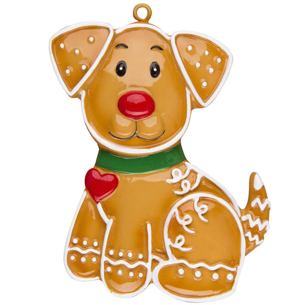 or1222 gingerbread dog personalized christmas ornament