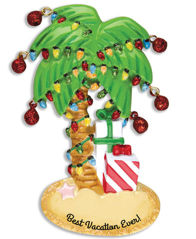 OR1228 - Christmas Palm Tree Personalized Christmas Ornament