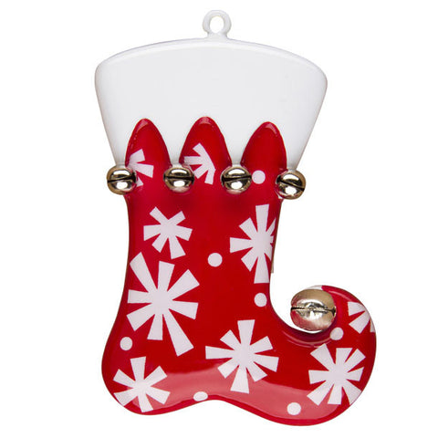 OR1232 - Red Stocking with Snowflakes Personalized Christmas Ornament