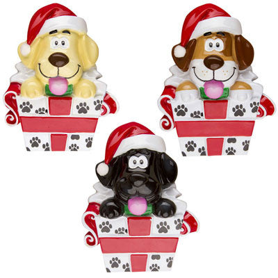 OR1237-A - New Puppy In Box - Assortment Personalized Christmas Ornament