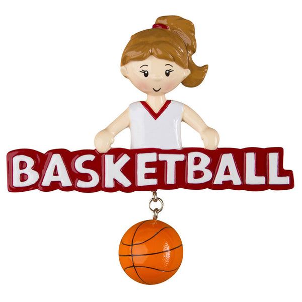 OR1243-G - Basketball (Girl) Personalized Christmas Ornament
