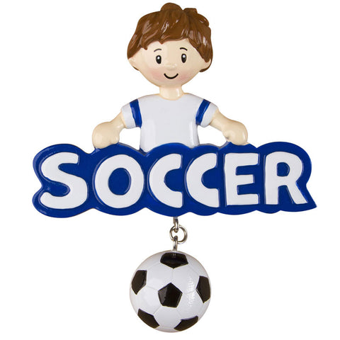 OR1244-B - Soccer (Boy) Personalized Christmas Ornament