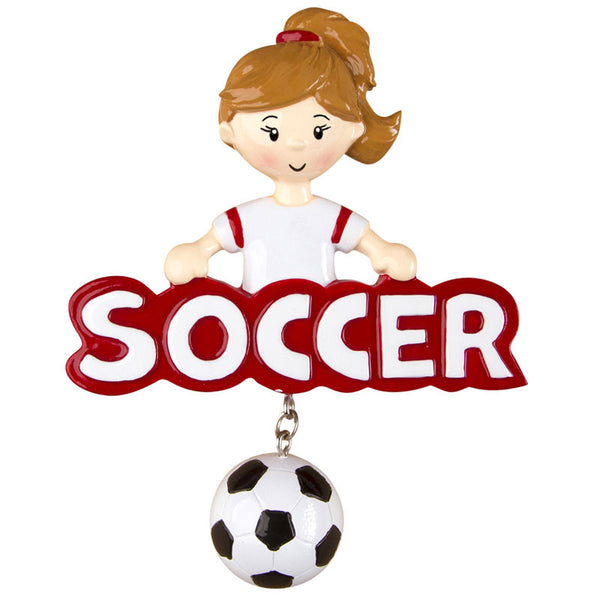 OR1244-G - Soccer (Girl) Personalized Christmas Ornament