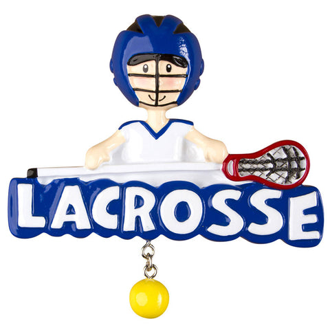 OR1246-B - Lacrosse (Boy) Personalized Christmas Ornament