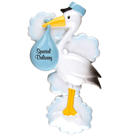 OR1251-B - Stork (Blue) Personalized Christmas Ornament
