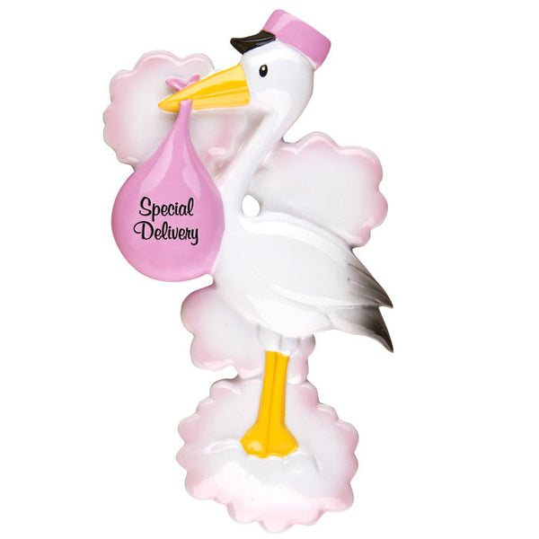 OR1251-P - Stork (Pink) Personalized Christmas Ornament