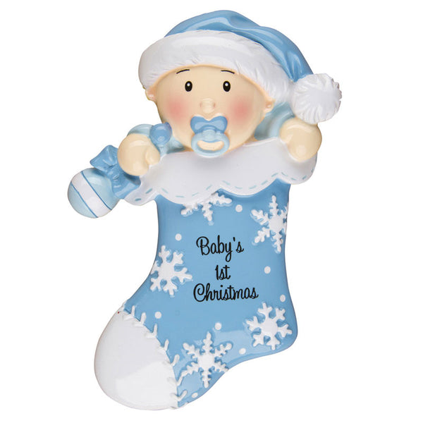 OR1252-B - Baby's First Stocking (Blue) Personalized Christmas Ornament