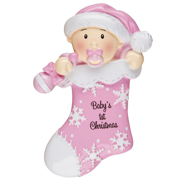 OR1252-P - Baby First Stocking (Pink) Personalized Christmas Ornament