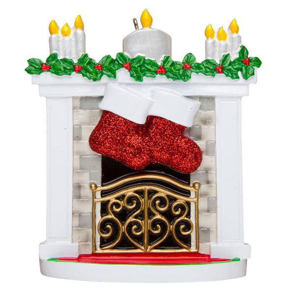 OR1253-2 - New Mantle with Stocking Family of 2 Personalized Christmas Ornament