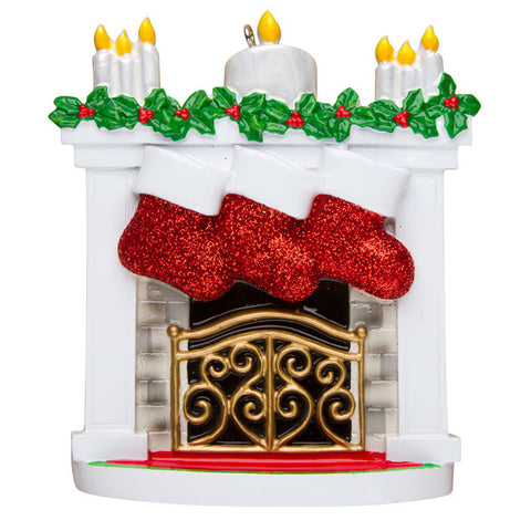 OR1253-3 - New Mantle with Stocking Family of 3 Personalized Christmas Ornament