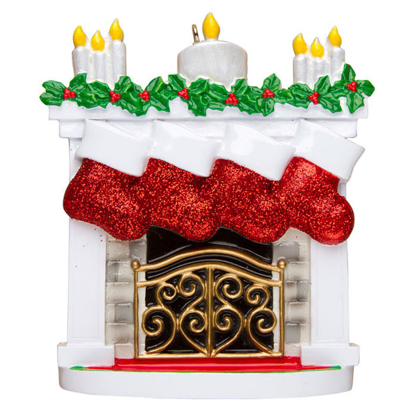 OR1253-4 - New Mantle with Stocking Family of 4 Personalized Christmas Ornament